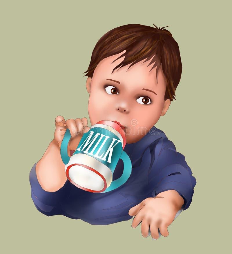 Leuke baby en zuigfles, melk drinkende baby, kind, groetkaart, prentbriefkaar, babykind, illustratiemens, het leven, kinderverzor royalty-vrije illustratie