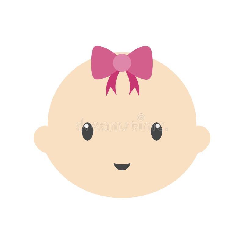 Leuke baby vectorillustratie, het eenvoudige pictogram van het babygezicht stock illustratie