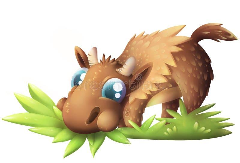 Leuke babyamerikaanse elanden die gras eten royalty-vrije illustratie