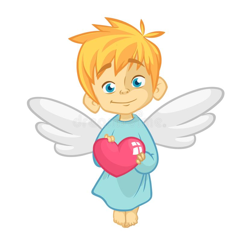 Leuke Babycupido Angel Hugging een Hart Beeldverhaalillustratie van Cupidokarakter voor St Valentine ` s Dag op wit wordt geïsole royalty-vrije illustratie