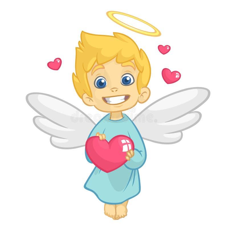 Leuke Babycupido Angel Hugging een Hart Beeldverhaalillustratie van Cupidokarakter voor St Valentine ` s Dag op wit wordt geïsole vector illustratie