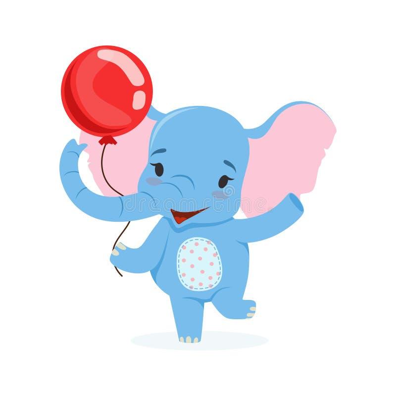 Leuke babyolifant die pret met rode ballon, de grappige vectorillustratie van het wildernis dierlijke karakter hebben vector illustratie