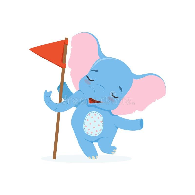 Leuke babyolifant die zich met rode vlag, de grappige vectorillustratie van het wildernis dierlijke karakter bevinden stock illustratie