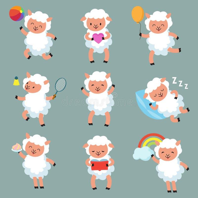 Leuke Babyschapen De grappige vectorkarakters van het beeldverhaal wollige lam stock illustratie