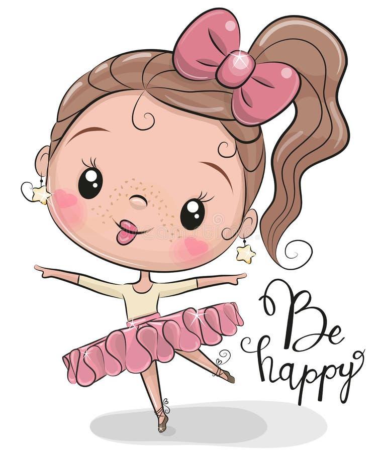 Leuke Ballerina op een witte achtergrond stock illustratie