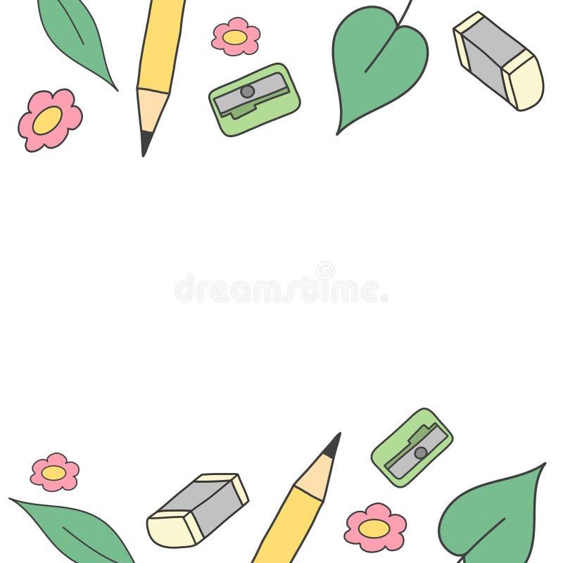 Leuke banner Schoolinstrumenten en bladeren De herfst terug naar schoolconcept stock afbeeldingen
