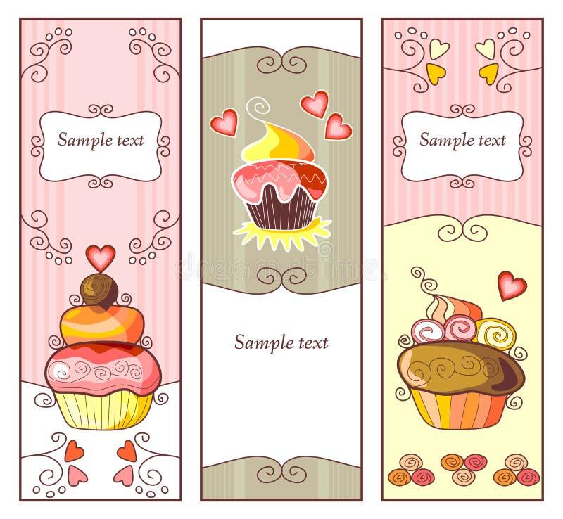 Leuke banners met zoete cupcakes royalty-vrije illustratie