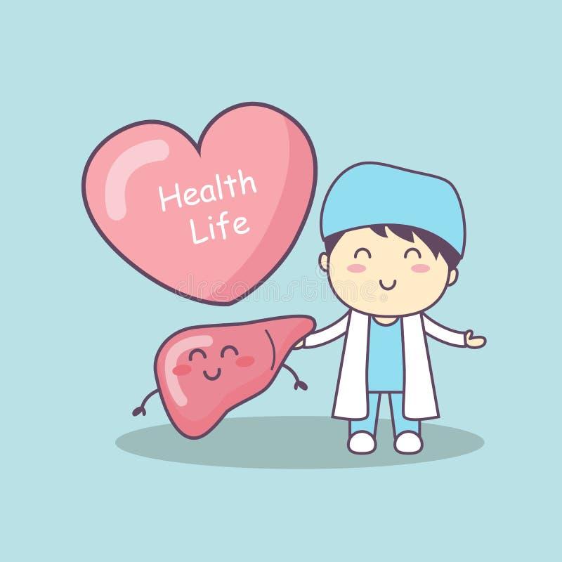 Leuke beeldverhaal arts met lever stock illustratie