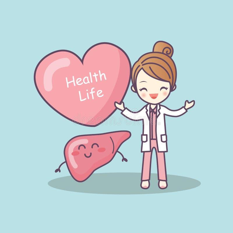 Leuke beeldverhaal arts met lever vector illustratie