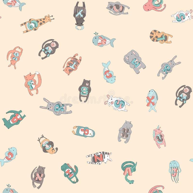 Leuke beeldverhaal dierlijke karakters Naadloos patroon, vectorillustratie in eenvoudige stijl stock illustratie
