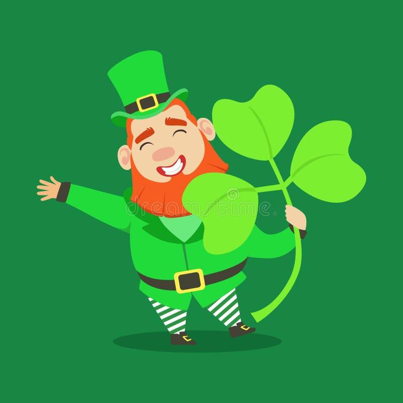 Leuke beeldverhaal dwergkabouter met klaver, symbool van succes en geluk Kleurrijk de Dagsprookje van heilige Patricks stock illustratie