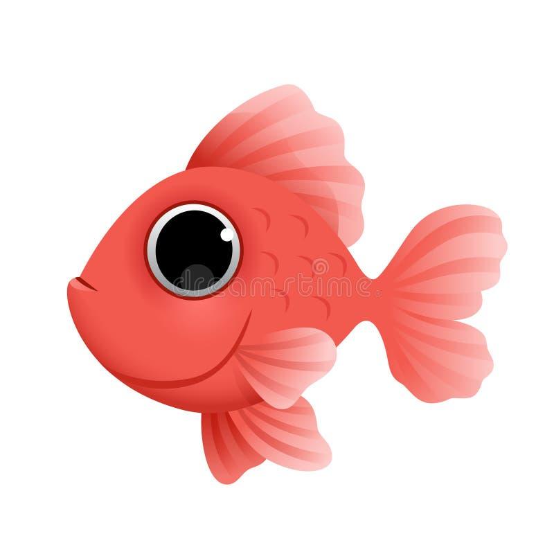 Leuke beeldverhaal gouden die vissen op witte achtergrond worden ge?soleerd Vector stock illustratie