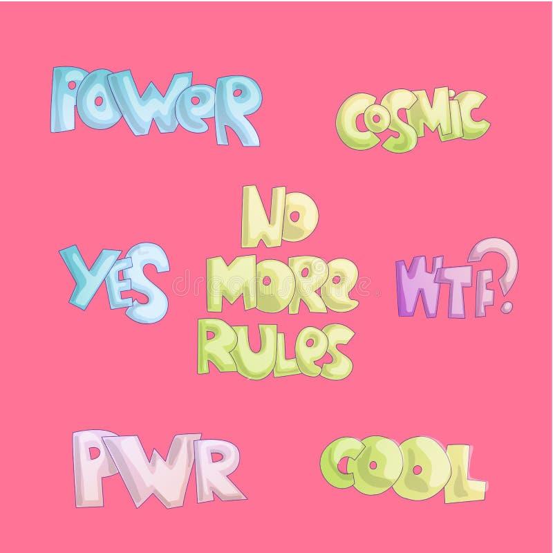 Leuke beeldverhaal grappige citaten, stickercitaten over het vrije leven, het koele van letters voorzien voor meisjes en feminist vector illustratie