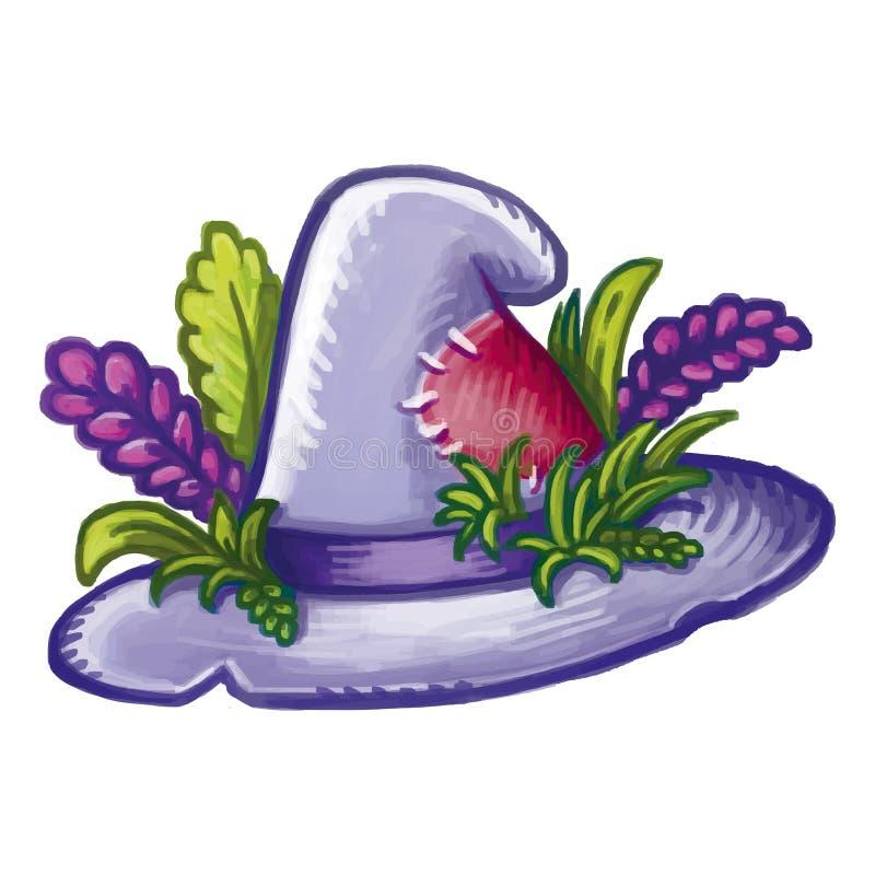 Leuke beeldverhaal hedgewitch magische die hoed met kruiden en bloemen wordt verfraaid Halloween-heksenhoed royalty-vrije illustratie