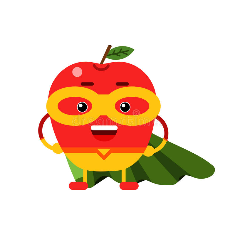 Leuke beeldverhaal het glimlachen appelsuperhero in masker en groene kaap, de kleurrijke vermenselijkte Illustratie van het fruit royalty-vrije illustratie