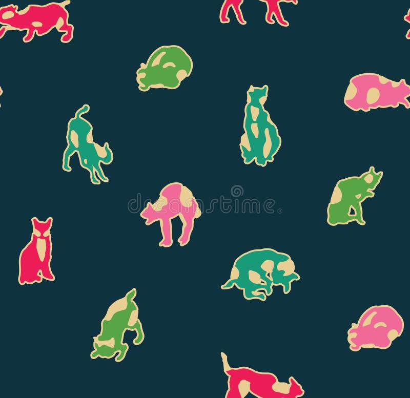 Leuke beeldverhaal minimalistische katten in verschillende posities vector illustratie