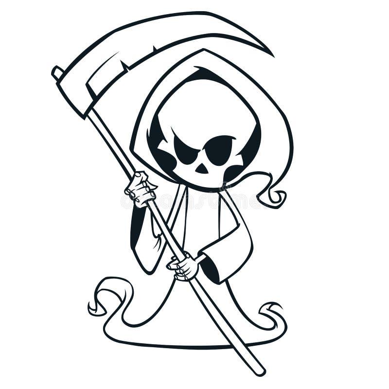 Leuke beeldverhaal onverbiddelijke die maaimachine met zeis op wit wordt geïsoleerd Leuke Halloween-het karakteroverzichten van d royalty-vrije illustratie
