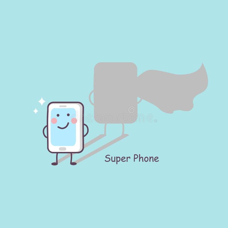 Leuke beeldverhaal super telefoon royalty-vrije illustratie