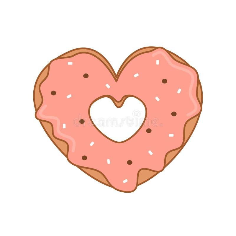 Leuke beeldverhaal vectorhart gevormde doughnut met de roze illustratie van de glansvalentijnskaart royalty-vrije illustratie