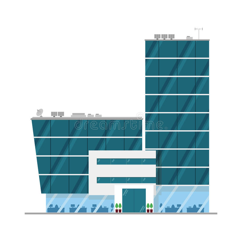 Leuke beeldverhaal vectorillustratie van een bureaugebouw royalty-vrije illustratie