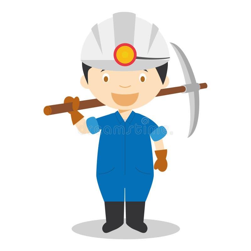 Leuke beeldverhaal vectorillustratie van een mijnwerker royalty-vrije illustratie