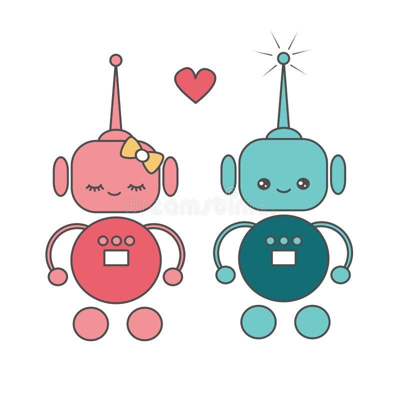Leuke beeldverhaal vectorrobots in liefde royalty-vrije illustratie