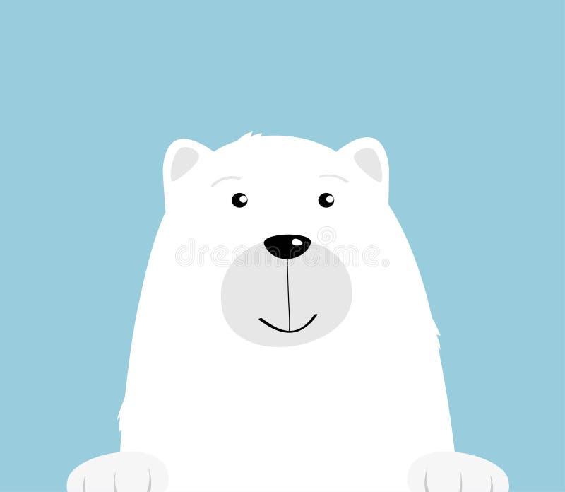 Leuke beeldverhaal witte ijsbeer op blauwe achtergrond Nieuwsgierige vriendschappelijk draagt het glimlachen gezicht Illustratie  vector illustratie