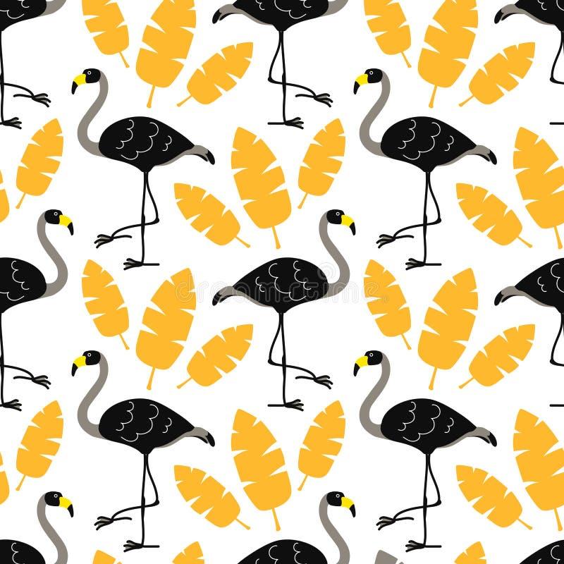 Leuke beeldverhaal zwarte flamingo's en gouden tropische bladeren die op witte achtergrond worden geïsoleerd Vector naadloos patr stock illustratie