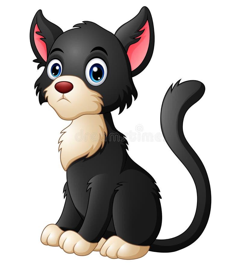 leuke beeldverhaal zwarte kat royalty-vrije illustratie