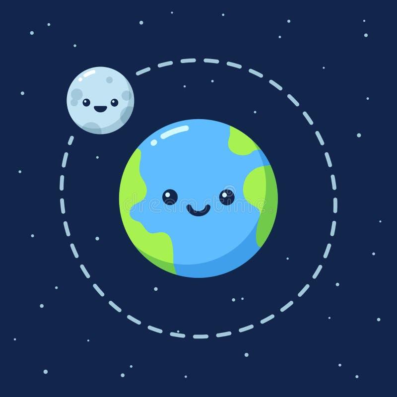 Leuke beeldverhaalaarde met Maan stock illustratie