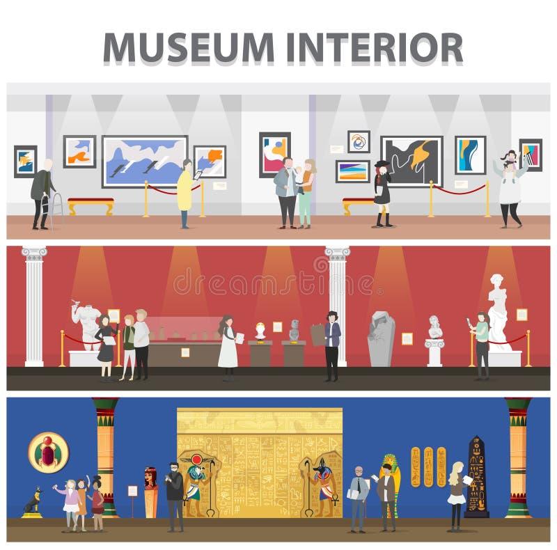 Leuke beeldverhaalbezoekers en gidskarakters in kunstmuseum vector illustratie