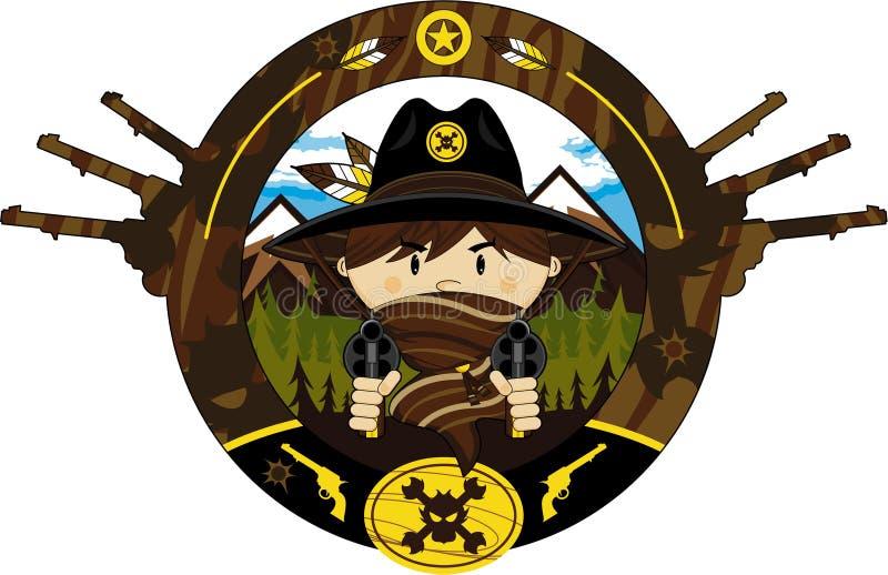 Leuke Beeldverhaalcowboy Gunslinger stock illustratie