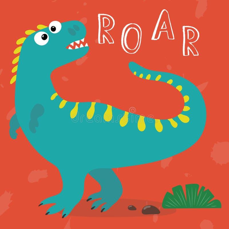 Leuke beeldverhaaldinosaurus gebrul Hand getrokken vectorillustratie stock illustratie