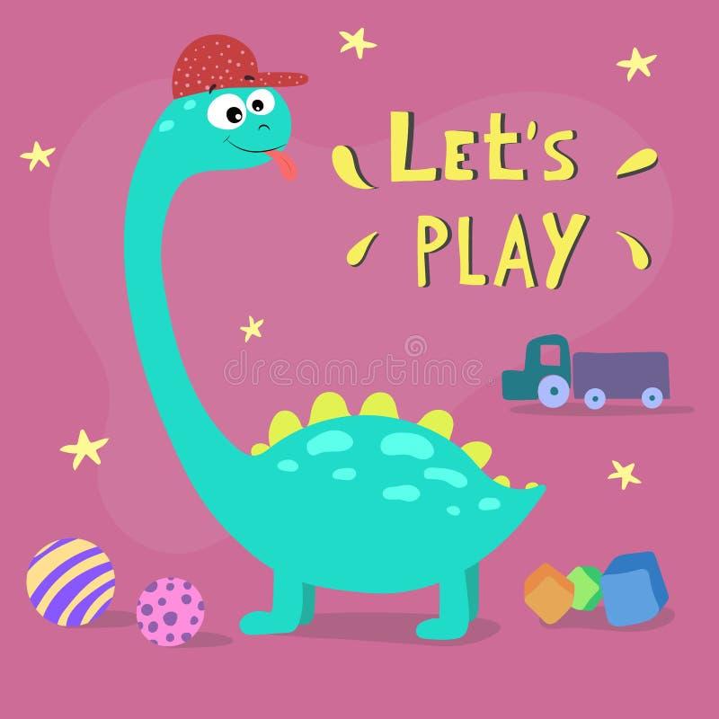 Leuke beeldverhaaldinosaurus Laat het Spel van ` s Hand getrokken vectorillustratie stock illustratie