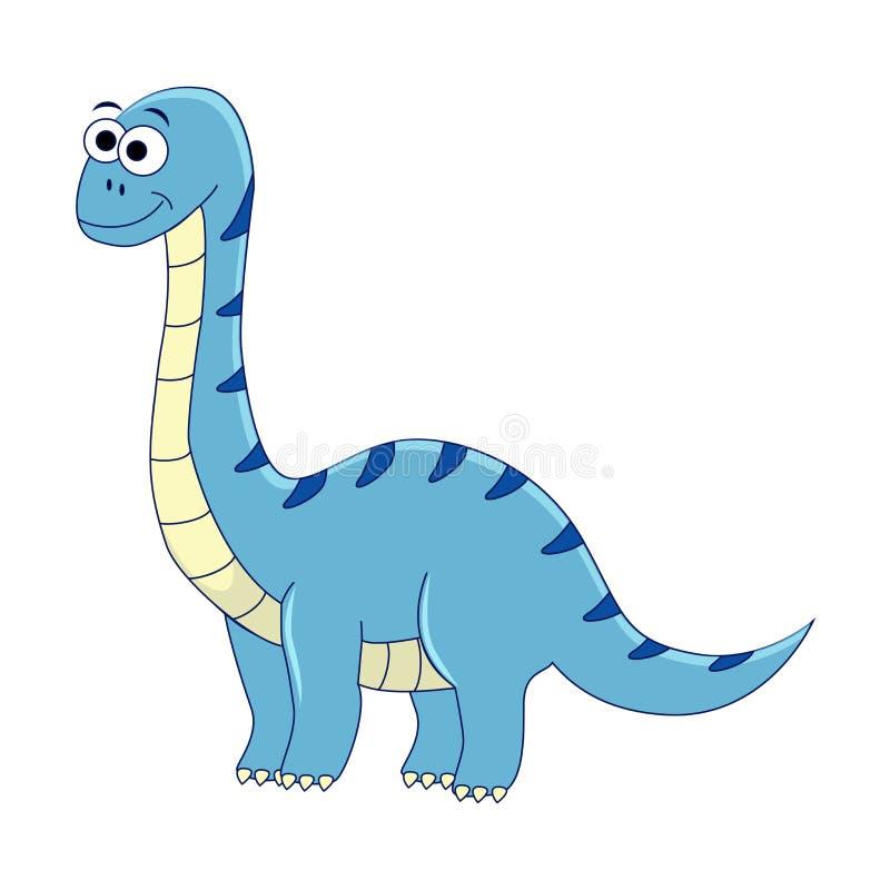 Leuke beeldverhaaldiplodocus De vectorillustratie van dinosaurus isoleert stock illustratie