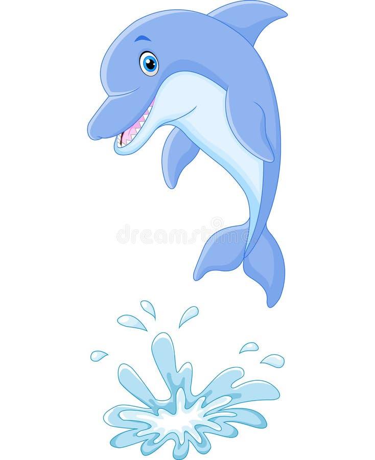 Leuke beeldverhaaldolfijn die uit water springen vector illustratie