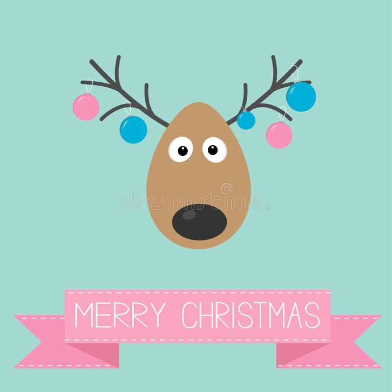 Leuke beeldverhaalherten met het hangen van het speelgoed van de Kerstmisbal op van achtergrond hoornen Vrolijk Kerstmis kaart Vl royalty-vrije illustratie