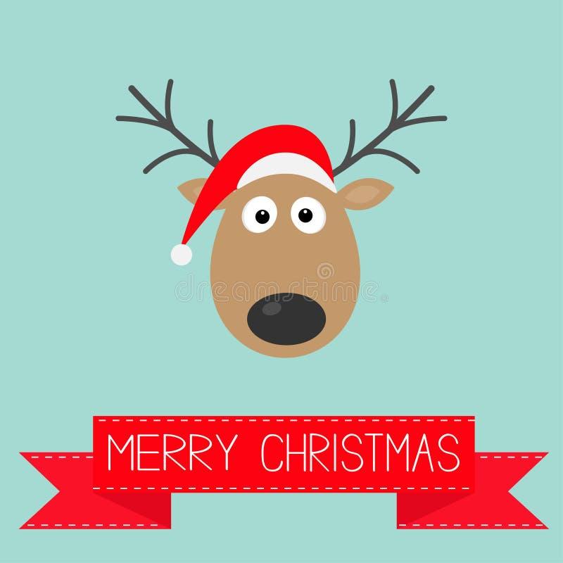 Leuke beeldverhaalherten met hoornen en rood Santa Claus-van achtergrond hoeden Vrolijk Kerstmis kaart Vlak ontwerp stock illustratie