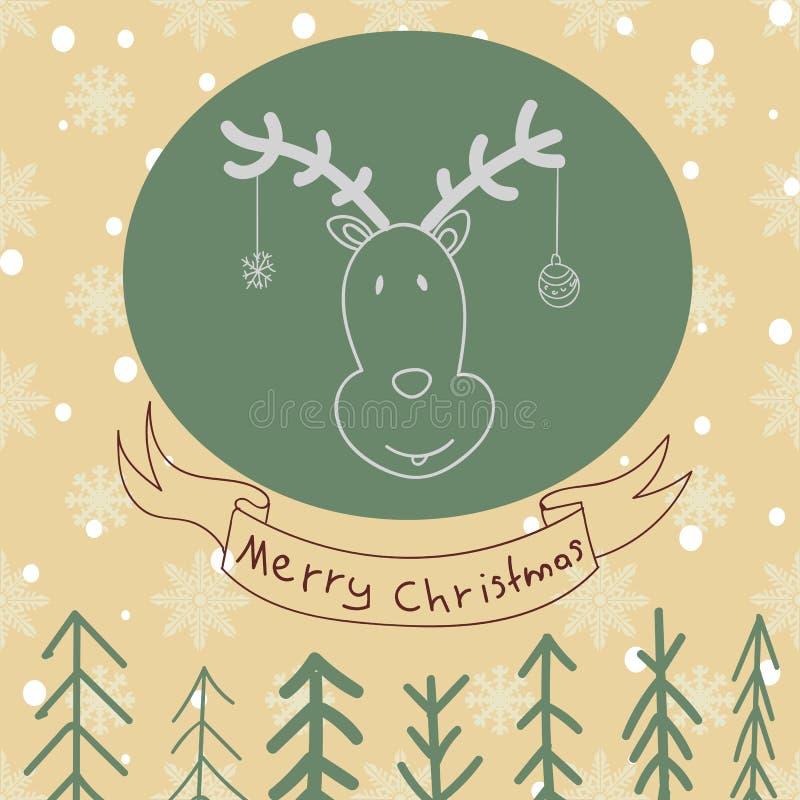 Leuke beeldverhaalherten met krullende hoornen, getrokken hand Vrolijke Kerstmis B stock illustratie