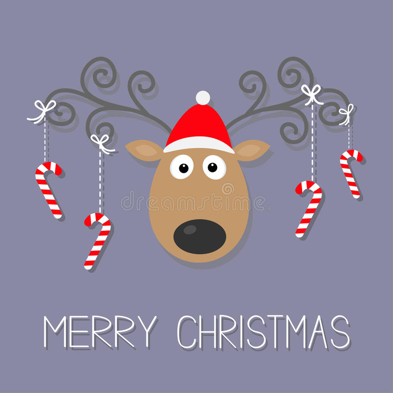 Leuke beeldverhaalherten met krullende hoornen, rode hoed en het hangende riet van het stoksuikergoed Vrolijk Kerstmis violet ach vector illustratie