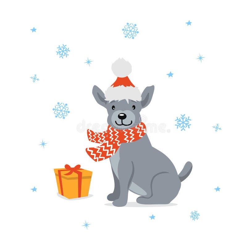 Leuke beeldverhaalhond in de hoedenzitting van santakerstmis voor een giftdoos, heden stock illustratie