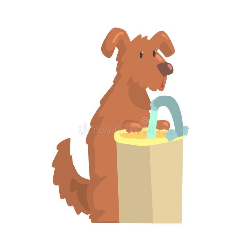 Leuke beeldverhaalhond die zich naast een gootsteen met stromend water kleurrijk karakter bevinden, dier die vectorillustratie ve vector illustratie