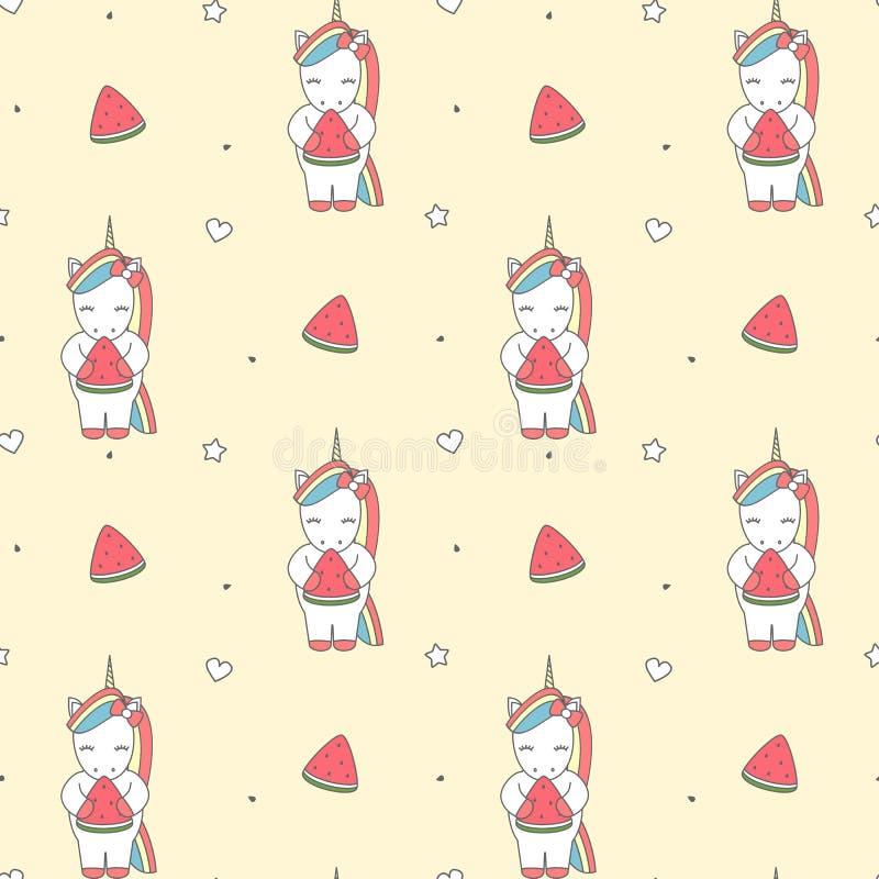 Leuke beeldverhaalillustratie met eenhoorn die het patroon van de watermeloenplak naadloze vectorillustratie eten als achtergrond vector illustratie