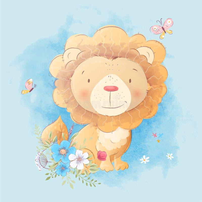 Leuke beeldverhaalillustratie van een leeuw met een boeket van bloemen in de stijl van digitale waterverf stock illustratie