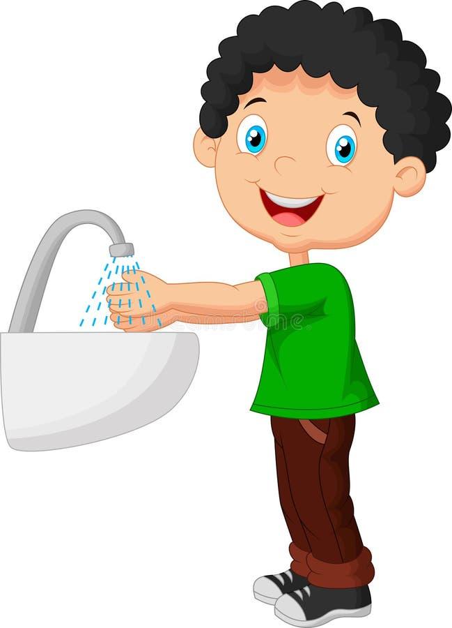 Leuke beeldverhaaljongen die zijn handen wassen vector illustratie