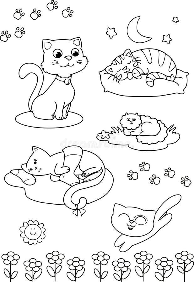 Leuke beeldverhaalkatten: kleurende pagina royalty-vrije illustratie