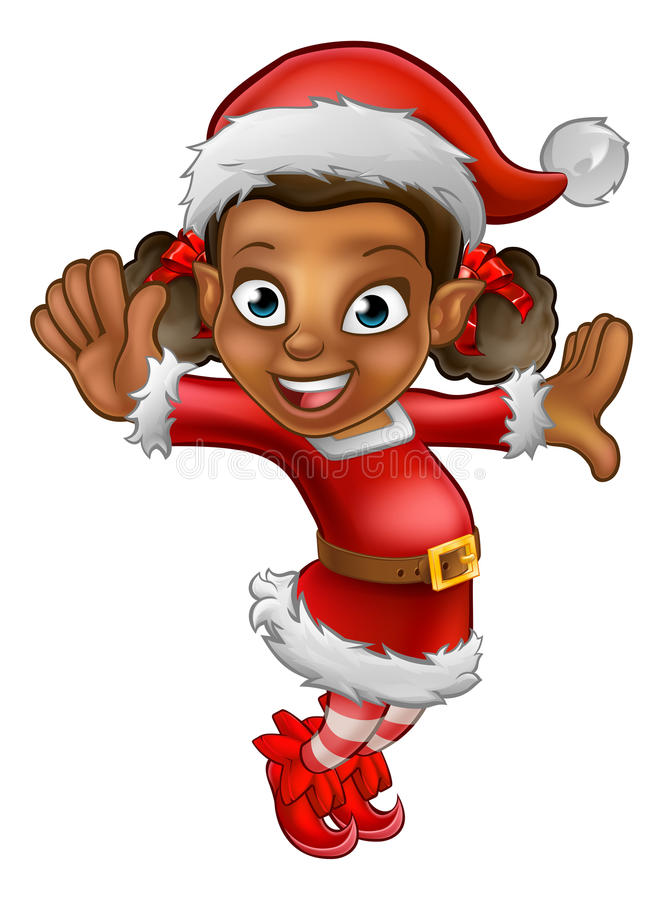 Leuke Beeldverhaalkerstmis Santa Helper Elf stock illustratie