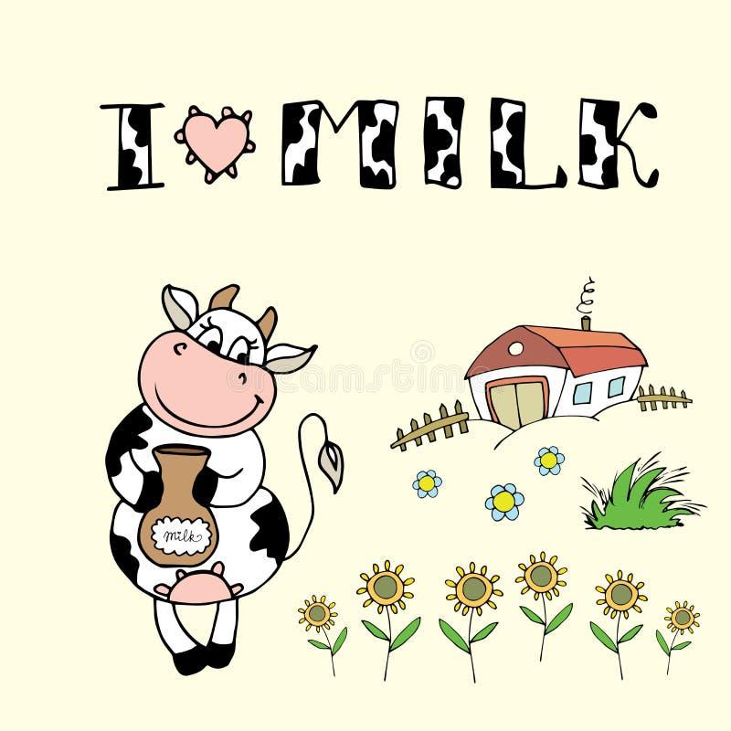 Leuke beeldverhaalkoe, landbouwbedrijfachtergrond en ik houd melk van inschrijving vector illustratie