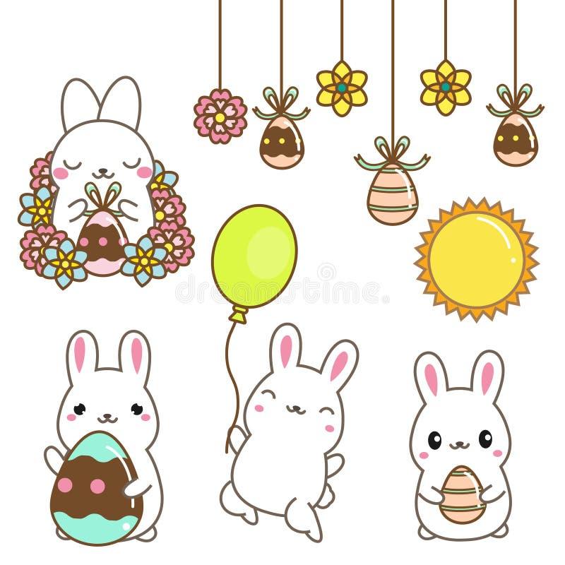 Leuke beeldverhaalkonijntjes Pasen-konijnen met eieren en bloemen Geïsoleerde klemkunst voor Pasen-ontwerp, stickers Kawaiistijl vector illustratie