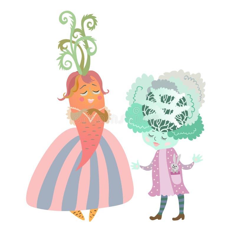 Leuke beeldverhaalkool - meisje met konijntje - stuk speelgoed en dame - wortel in mooie kleding vector illustratie